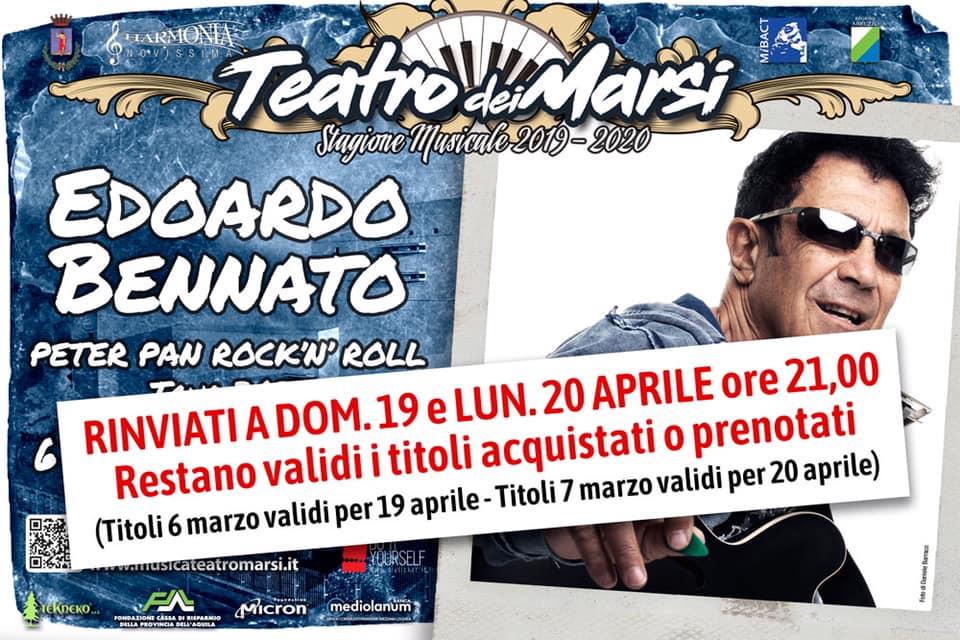 Stabilite le nuove date per i concerti di Edoardo Bennato e del Banco del mutuo soccorso