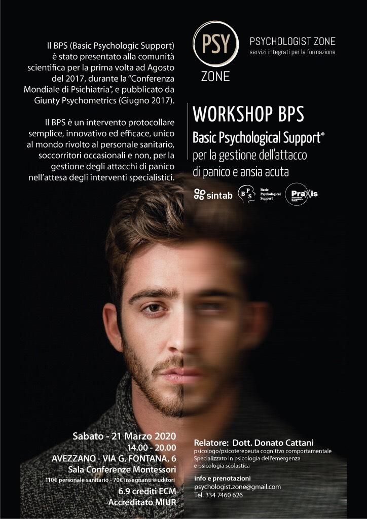 Workshop BPS Basic Psychological Support, Per la gestione dell'attacco di panico e ansia acuta