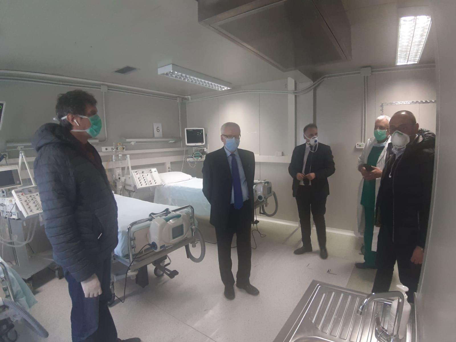 Il presidente della Regione visita il G8 dell'Aquila che ospiterà posti letto di Terapia Intensiva e di Sub-intensiva