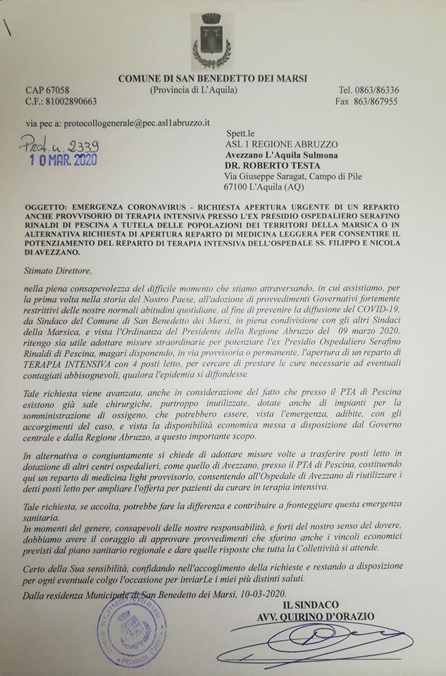 """Ospedale di Pescina, il sindaco D'Orazio scrive alla ASL """"Apertura urgente di un reparto anche provvisorio per fronteggiare l'emergenza epidemiologica da covid 19"""""""