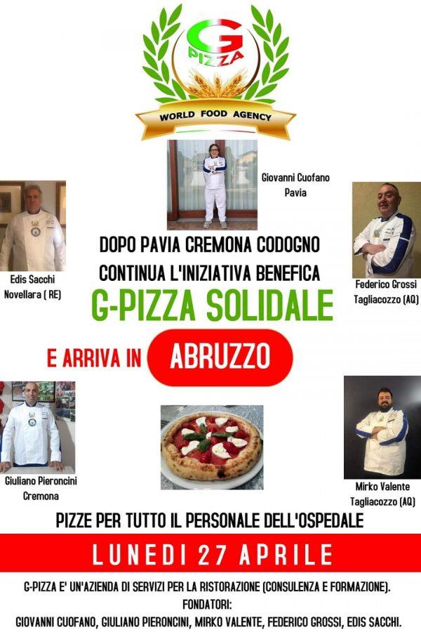 """I tagliacozzani Mirko Valente e Federico Grossi tra gli ideatori di """"Pizza solidale"""" iniziativa per ringraziare il personale sanitario"""