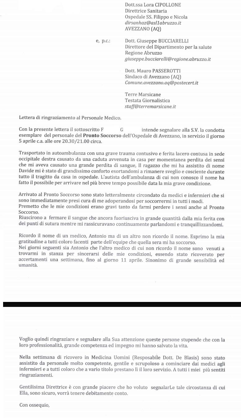 Esperienze di buona sanità, la lettera di ringraziamento per il comportamento esemplare del personale medico e paramedico dell'Ospedale di Avezzano