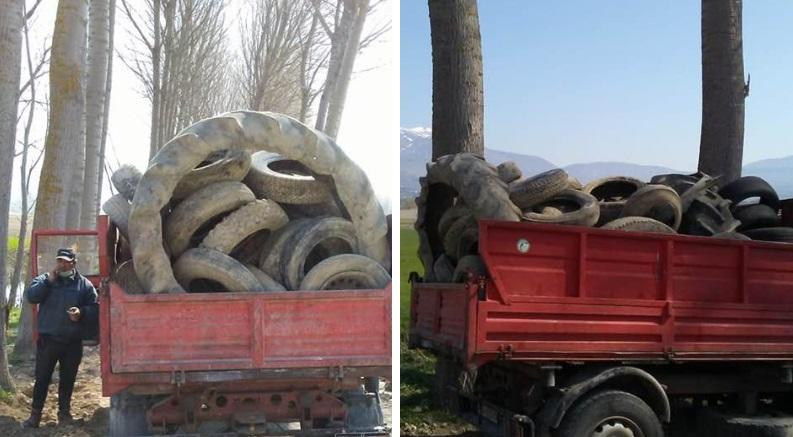 Pneumatici abbandonati rinvenuti durante la pulizia dei fossi a Cerchio