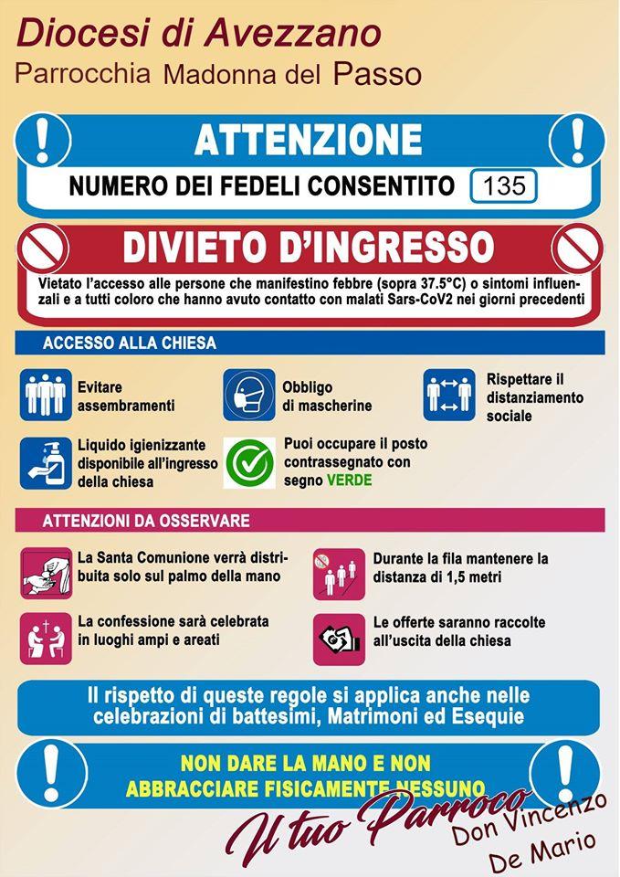 """Ecco le nuove regole per i fedeli che vanno a messa alla Parrocchia """"Madonna del Passo"""" di Avezzano"""