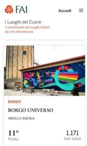 """Borgo Universo scala posizioni nella classifica de """"i luoghi del cuore FAI"""", soddisfazione per il sindaco Di Natale"""