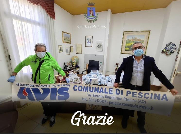 Dono di 1000 mascherine dell'AVIS comunale di Pescina, gratitudine e raccomandazioni per i donatori da parte del sindaco