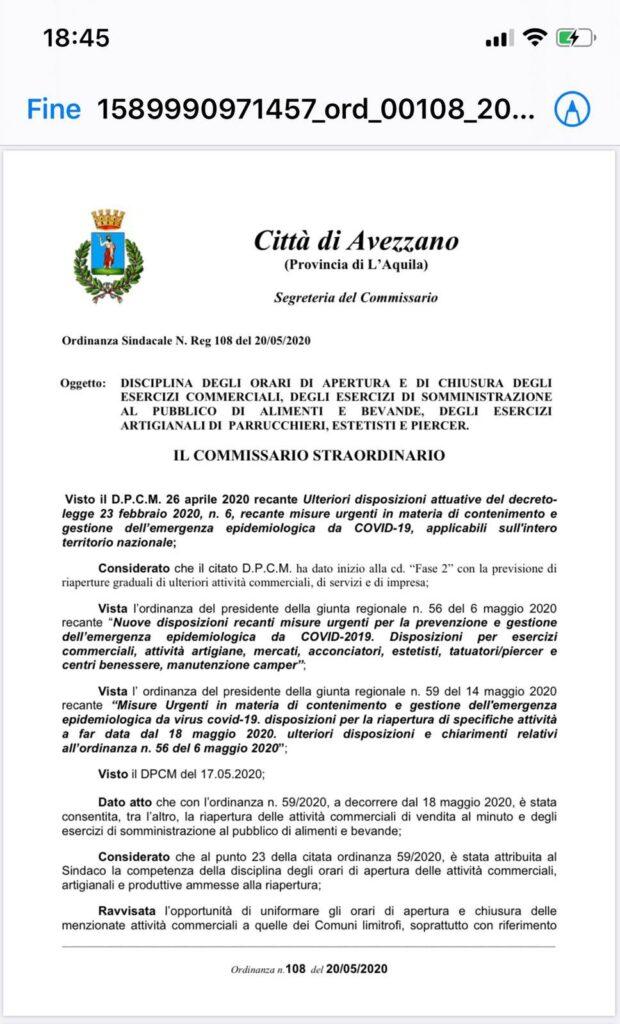 Emanata l'ordinanza per disciplinare orari di apertura e chiusura delle attività commerciali e artigiane di Avezzano