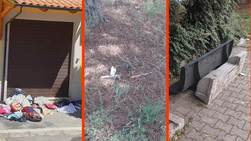 Avezzano vandalizzata: siringhe abbandonate, rifiuti un po' ovunque e panchine divelte