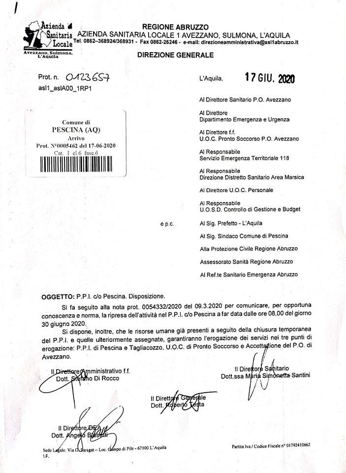 """Confermata la riapertura del PPI di Pescina il 30 giugno, Iulianella """"Ora, si proceda al più presto a ripristinare anche i servizi del PTA"""""""