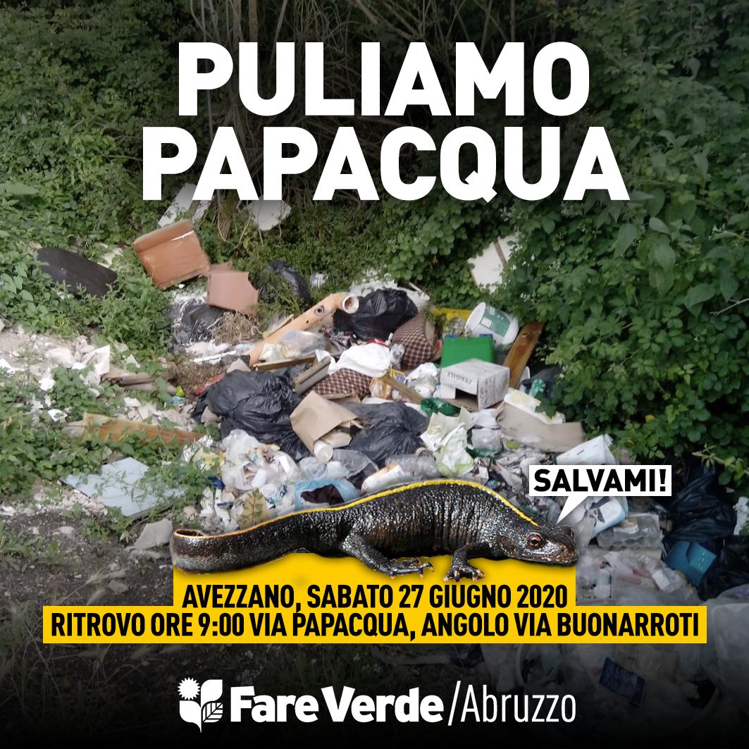 Ad Avezzano Fare Verde pulisce via Papacqua, prezioso e sottovalutato scrigno di biodiversità