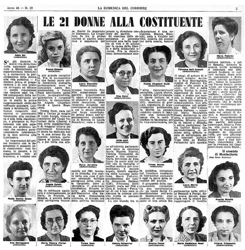 2 giugno: omaggio dell'ANPI alle 21 Madri costituenti