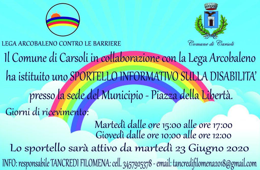"""Comune di Carsoli e Lega Arcobaleno insieme per istituire lo """"Sportello informativo sulla disabilita'"""""""