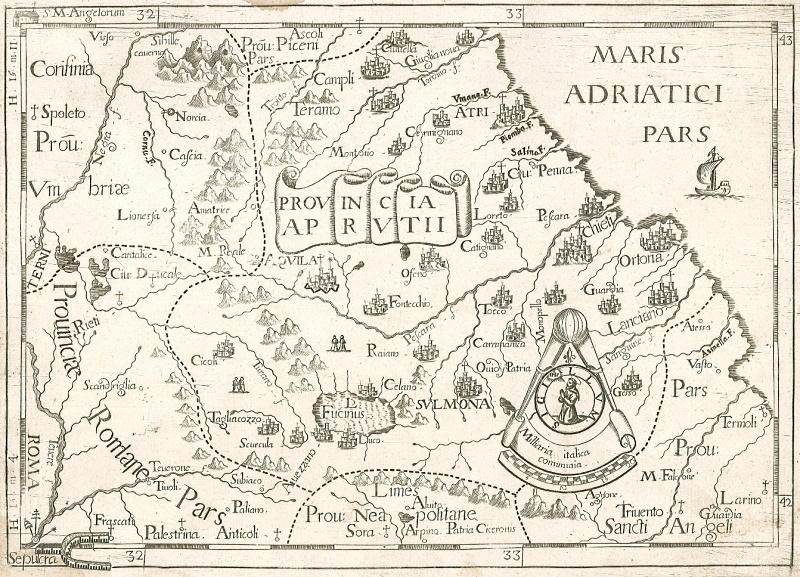 Il Lago Fucino e la Marsica in un'antica cartina del 1712 di Giovanni da Montecalerio