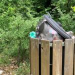Secchioni stracolmi di rifiuti sul Pratone del Monte Salviano