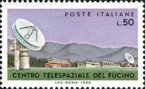 Francobollo storico dedicato al Centro Telespaziale del Fucino