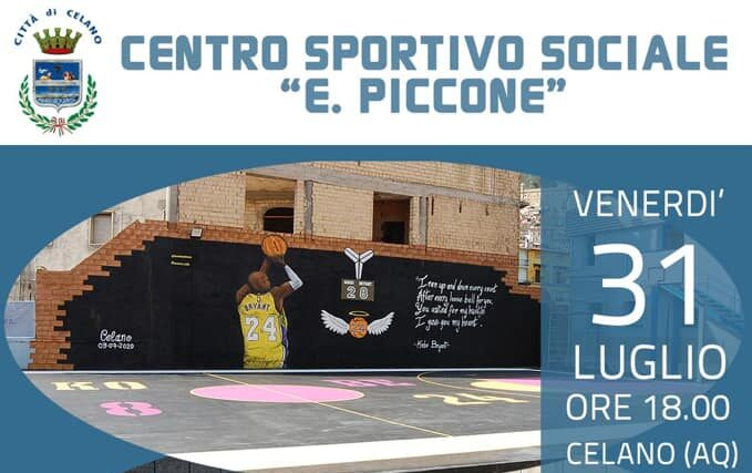 """Domani presentazione del campo da basket del centro sportivo sociale """"E. Piccone"""" di Celano"""
