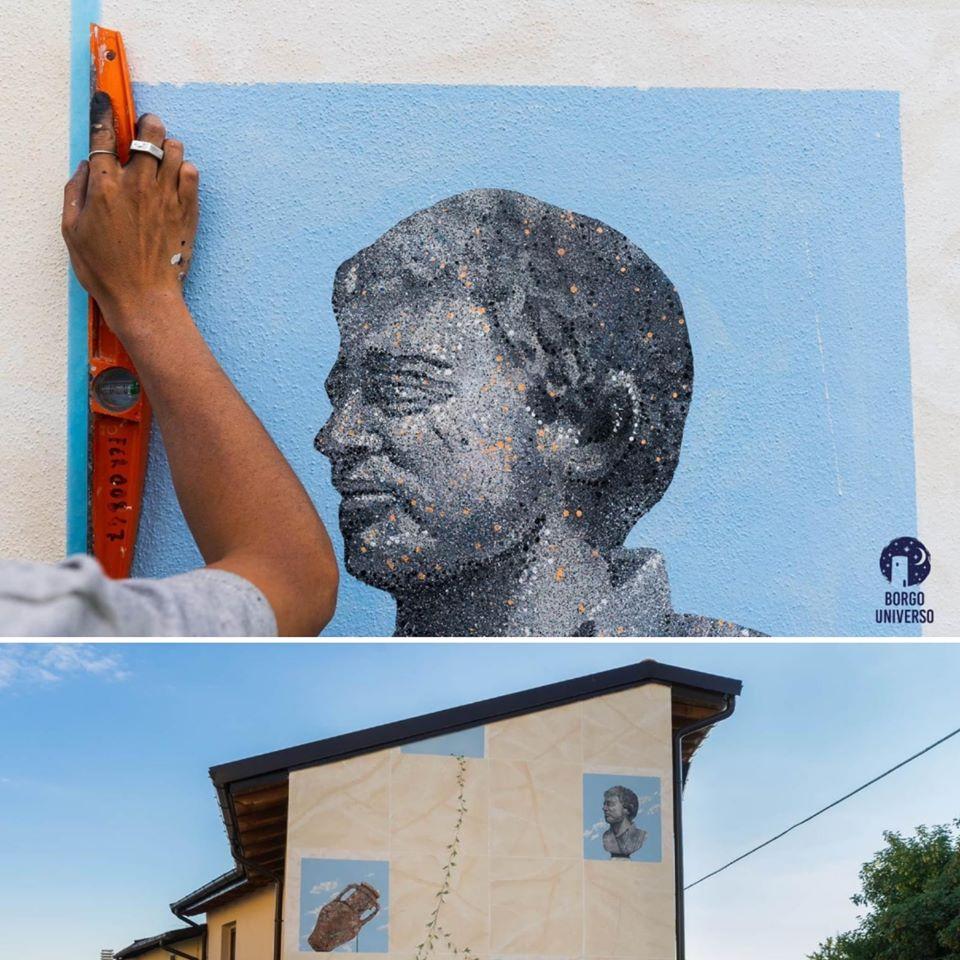 Aielli. Un particolare del murale di An Wei per ricordare Angelo Vassallo, il Sindaco ucciso in un attentato