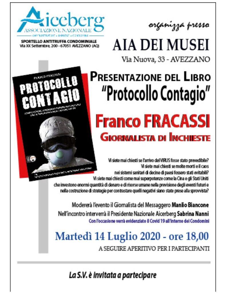 """Franco Fracassi presenta il suo libro """"protocollo contagio"""" all'aia dei musei di Avezzano il 14 luglio alle 18"""