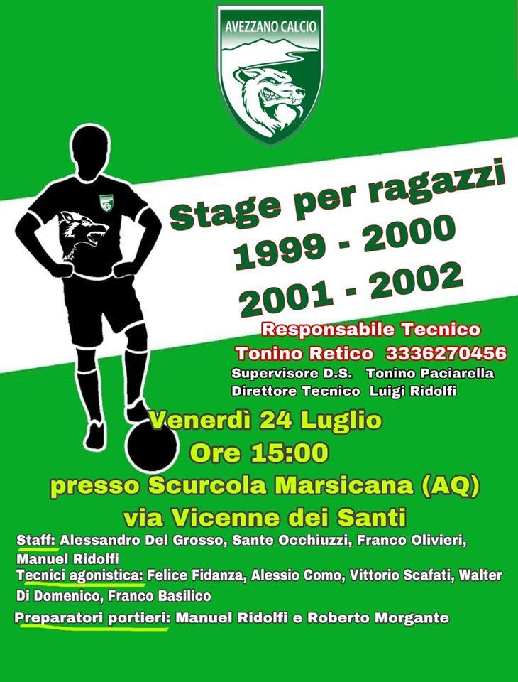 Avezzano Calcio, venerdì 24 luglio si terrà uno stage per i ragazzi classe '99, '00, '01 e '02