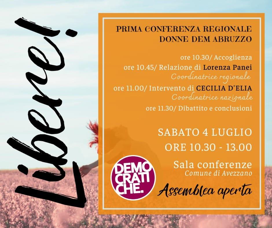 Avezzano, sabato 4 luglio si terrà la prima Conferenza Regionale Donne Dem Abruzzo