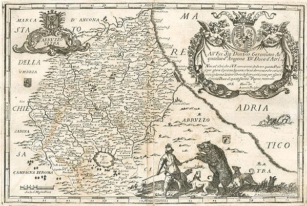 Uomo contro Orso, la straordinaria illustrazione di una cartina dell'Abruzzo Ultra del 1734