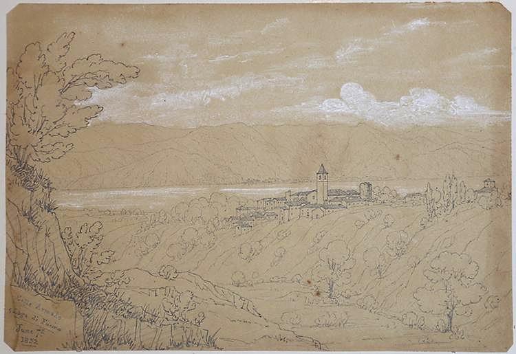 Veduta di Collarmele e del Lago del Fucino in un disegno del 1852