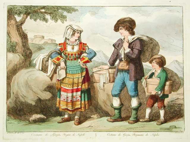 Il costume tradizionale di Gioia dei Marsi in una stampa del 1828