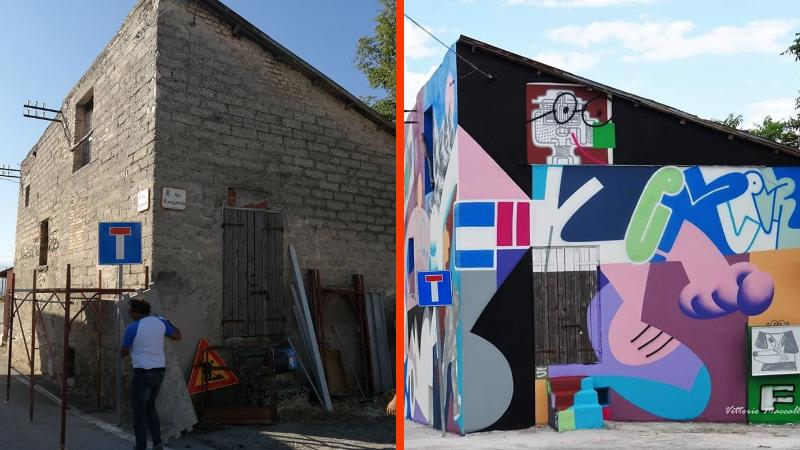Aielli, concluso il murale di Sawe