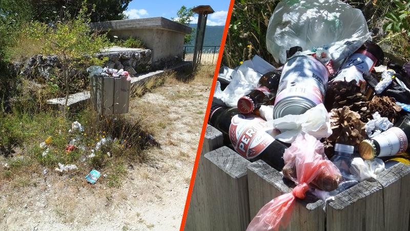 Monte Salviano, cestino di rifiuti pieno di bottiglie e lattine