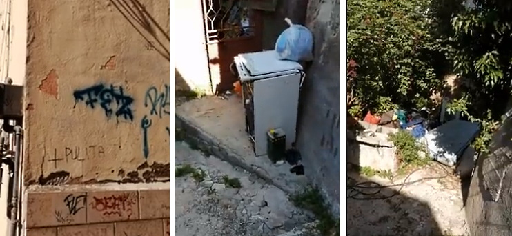Sporcizia e rifiuti abbandonati nel centro storico di Celano