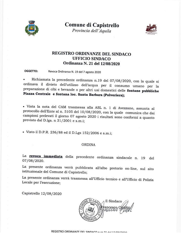 Capistrello, revocata l'Ordinanza sul divieto dell'acqua per il consumo umano: i campioni prelevati sono conformi al Dlgs n. 152/2006