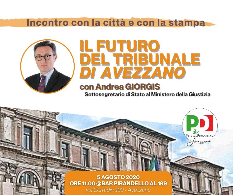 l futuro del tribunale di Avezzano: domani 5 agosto l'incontro con il sottosegretario Giorgis