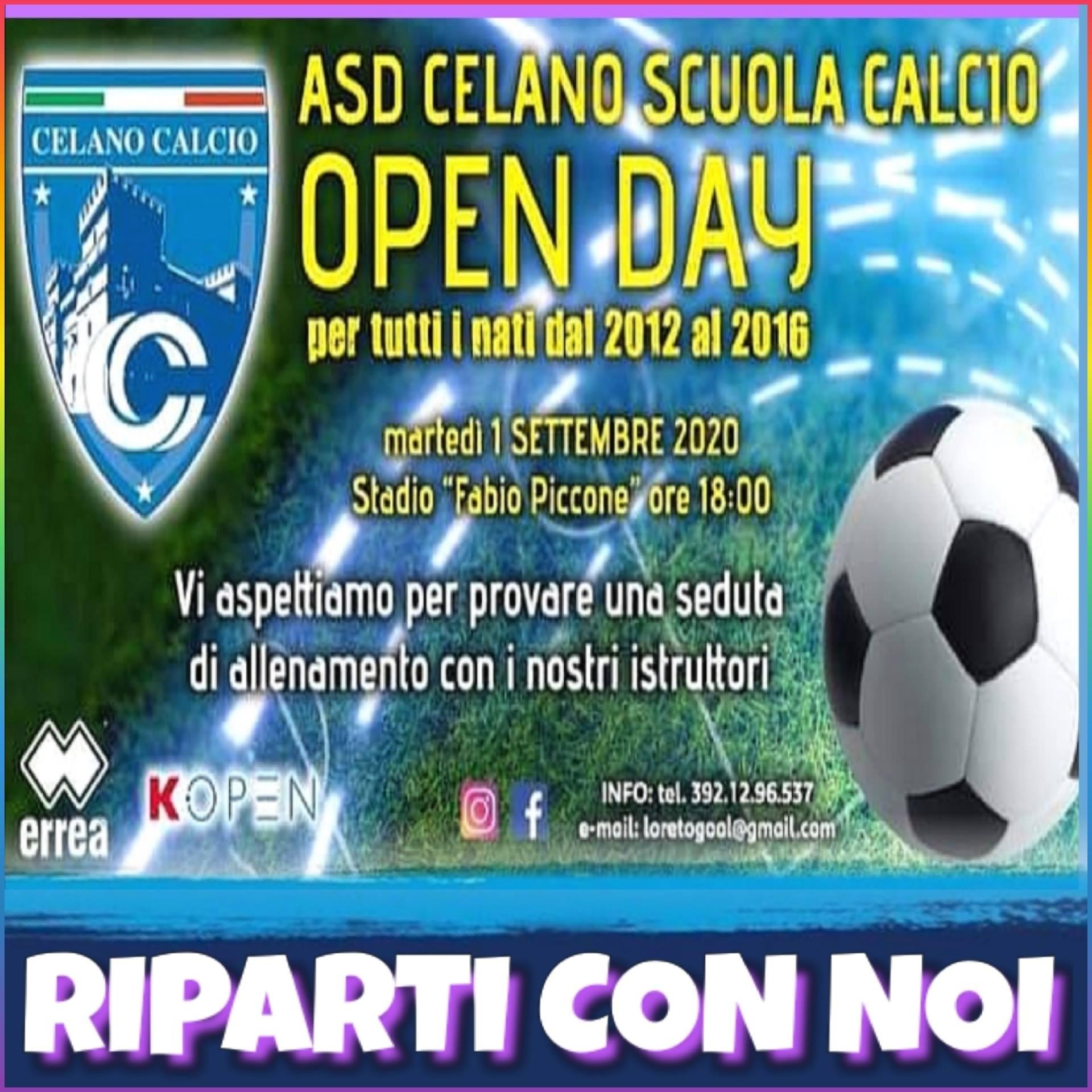 ASD Celano Scuola Calcio, Open Day fissato per martedì 1° settembre