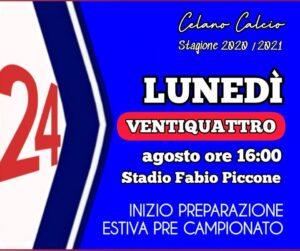 Celano Calcio, lunedì 24 agosto il via alla preparazione presso lo Stadio Piccone