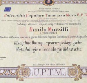 Al Fisarmonicista M° Danilo Murzilli, il titolo di Dottore in Discipline Antropo-Psico-Pedagogiche, Metodologie e Tecnologie Didattiche