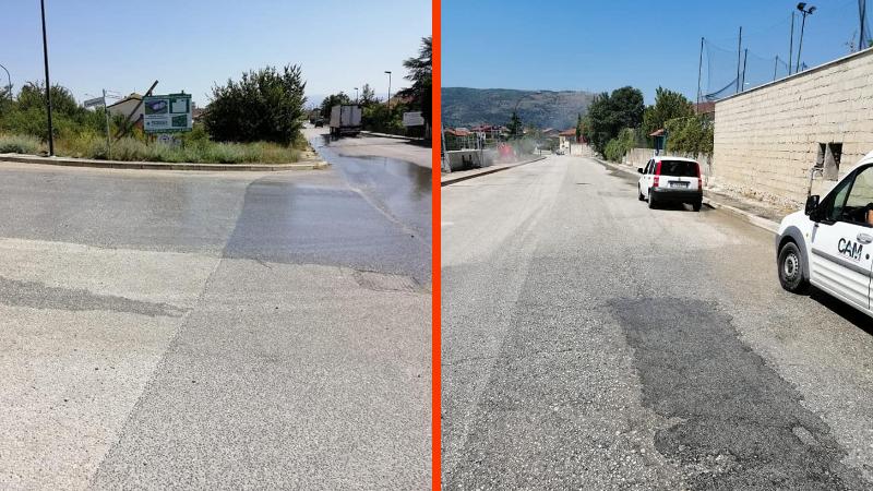 Avezzano, importante perdita d'acqua nella zona di Caruscino, operai già a lavoro per le riparazioni