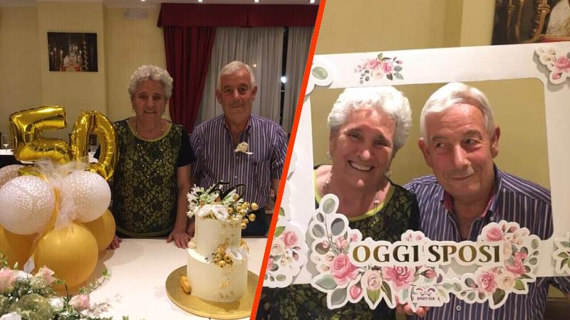 Pescina, festa a sorpresa per i cinquant'anni di matrimonio dei coniugi Scamolla, Rocco e Silvana.