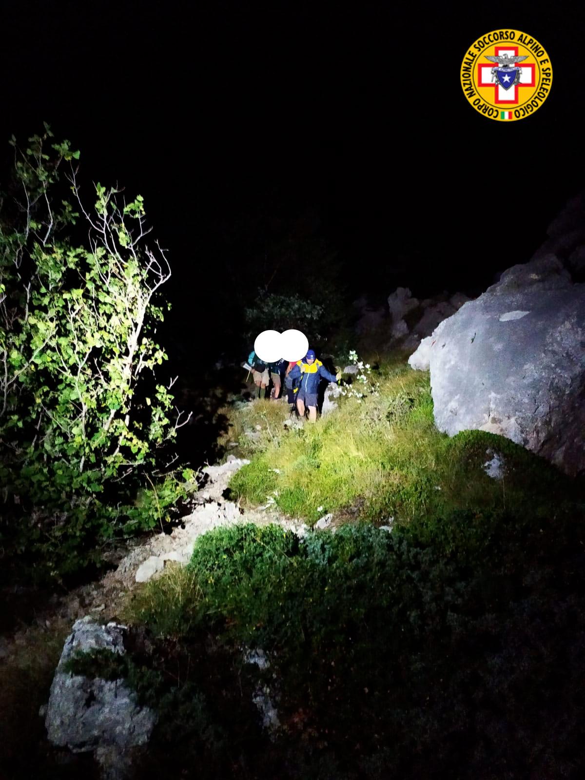 Sette scout romani bloccati sul Velino a quota 2.150 metri, recuperati nella notte dal soccorso alpino