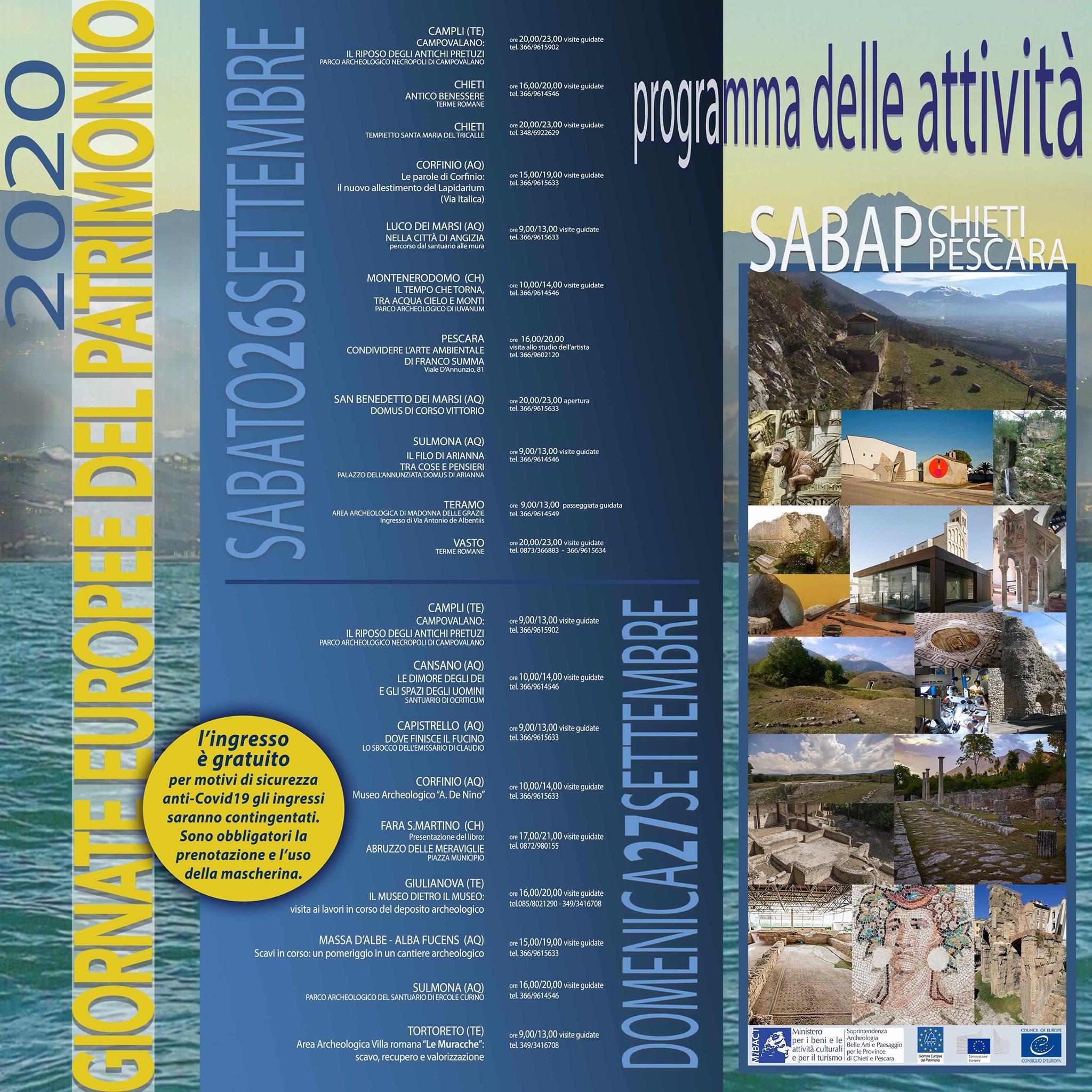 Sabato 26 e Domenica 27 le Giornate Europee del Patrimonio in Abruzzo