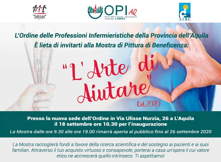 """Inaugurazione della nuova sede dell'Ordine delle Professioni Infermieristiche della Provincia dell'Aquila e della mostra """"L'Arte di Aiutare"""""""