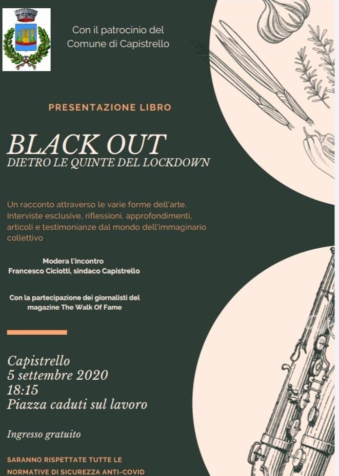 Capistrello, sabato 5 la presentazione del libro 'Black Out - Dietro le quinte del lockdown'