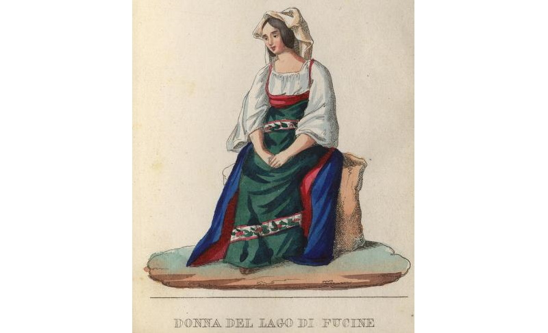 Donna del Lago di Fucino in un disegno del 1856