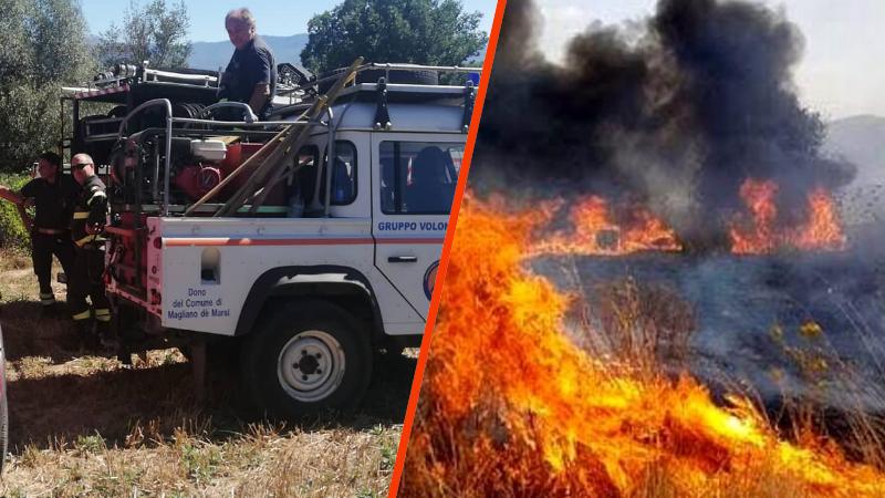 Incendio a Magliano dei Marsi nelle vicinanze di un'azienda di legnami. La Protezione Civile riesce ad evitare il peggio