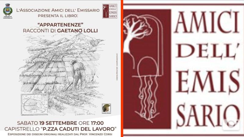 Nuovo evento culturale promosso dagli Amici dell'Emissario, la presentazione del libro di Gaetano Lolli, APPARTENENZE