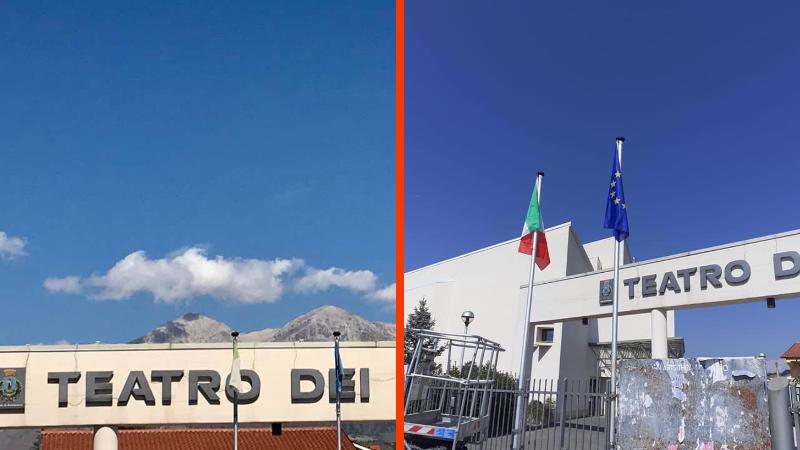 Avezzano, il Comune sostituisce le bandiere all'ingresso del Teatro dei Marsi dopo la segnalazione di un cittadino