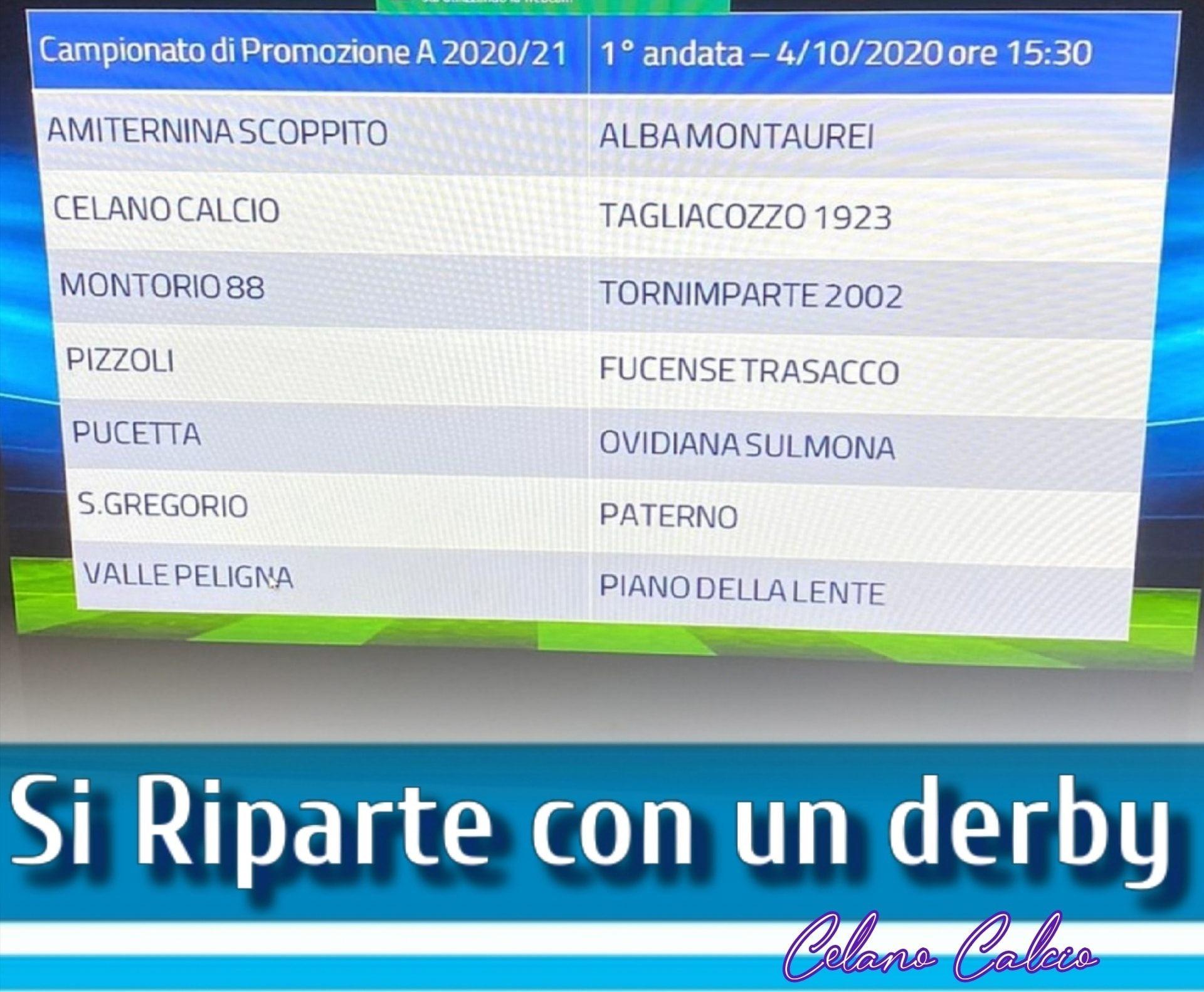 Promozione A: subito Celano-Tagliacozzo alla prima di campionato, Paterno a San Gregorio