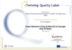 Tagliacozzo, l'Istituto Argoli ottiene il Quality Label (Certificato di qualità) per il progetto di gemellaggio elettronico E-Twinning sulla parità di genere e sull'Europa casa comune