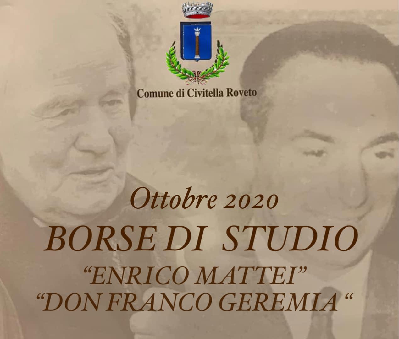 """Civitella Roveto, quest'anno non ci sarà nessuna cerimonia ufficiale di consegna delle Borse di Studio """"E. Mattei e Don Franco Geremia"""""""