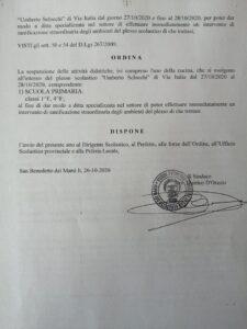 """Sospese le attività didattiche dell' """"Umberto Sclocchi"""" a San Benedetto dei Marsi"""