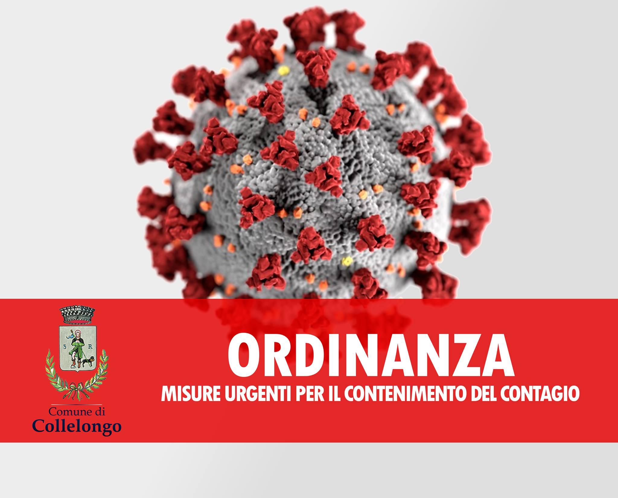 Il comune di Collelongo ordina ulteriori misure urgenti per fronteggiare l'emergenza epidemiologica da COVID-19